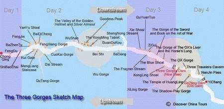 map of three gorges cruise,yangtze river cruise