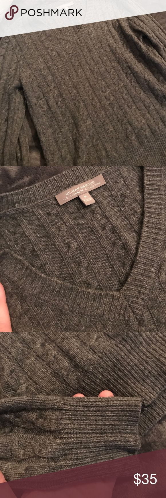 Neman Marcus Cashmere Sweater So soft! Lightly worn 💯% cashmere sweater in gray. Open to offers Neiman Marcus Sweaters V-Necks