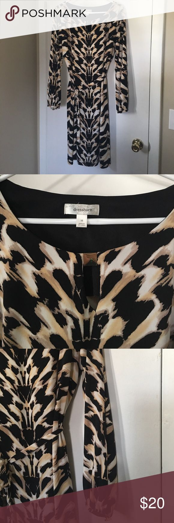 Dress Barn Long Sleeve Animal Print Dress - Sz 16 Long sleeve, animal print dress from Dress Barn - Size 16 - Worn once or twice - Excellent condition Dress Barn Dresses Midi