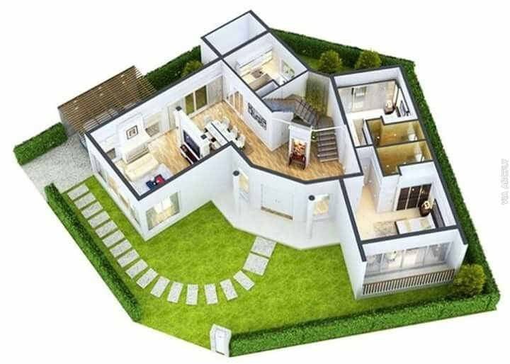 Luxury Modern Mansion Floor Plans 3d. Green Modern Home Floor Plans With  Large Bedroom And