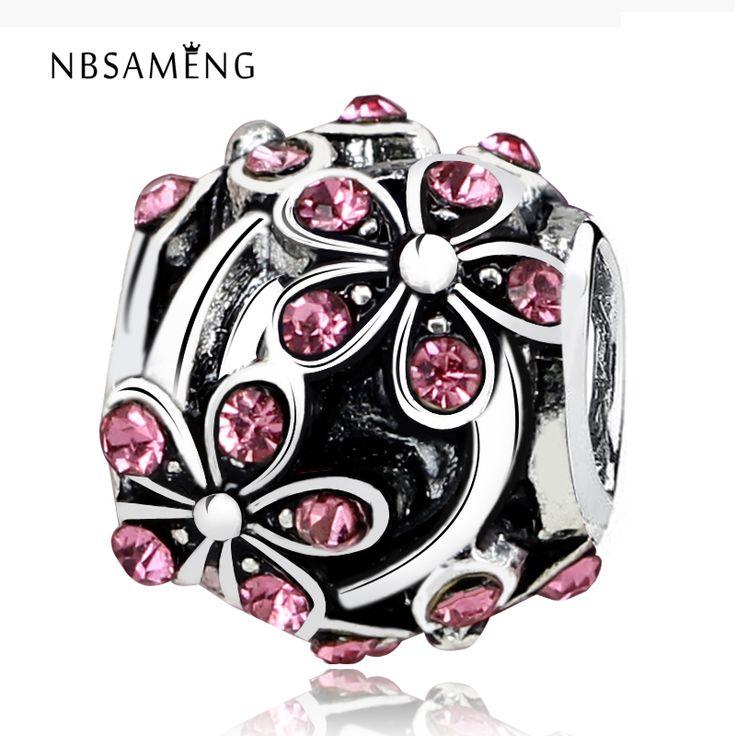 Free Shipping plum flower Blossom with Crystal Bead Charm European Beads Fit Women Pandora Bracelet & Bangle DIY jewelry YW15604
