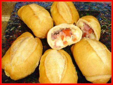 Cozinhar é uma Terapia!: Pão francês recheado com sabor de pizza