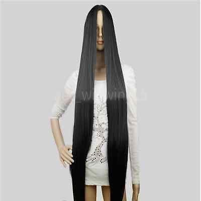 Сз мода черный длинный прямой женщин полные парики центр расставание