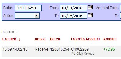 """I am getting paid daily at ACX and here is proof of my latest withdrawal. This is not a scam and I love making money online with Ad Click Xpress http://www.adclickxpress.com/?r=jh8kuuarxzua&p=mx"