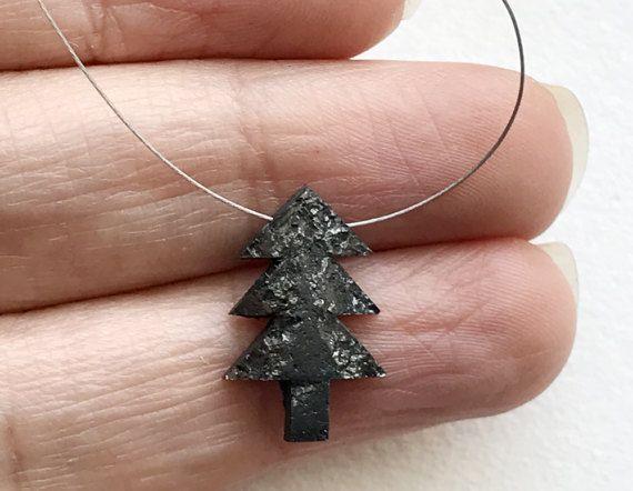 1 Pc 11x17mm Black Rough Diamond Christmas Tree by gemsforjewels