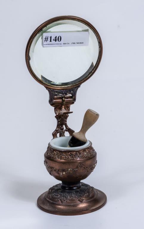 Rare Victorian shaving brush stand mirror w/ milk