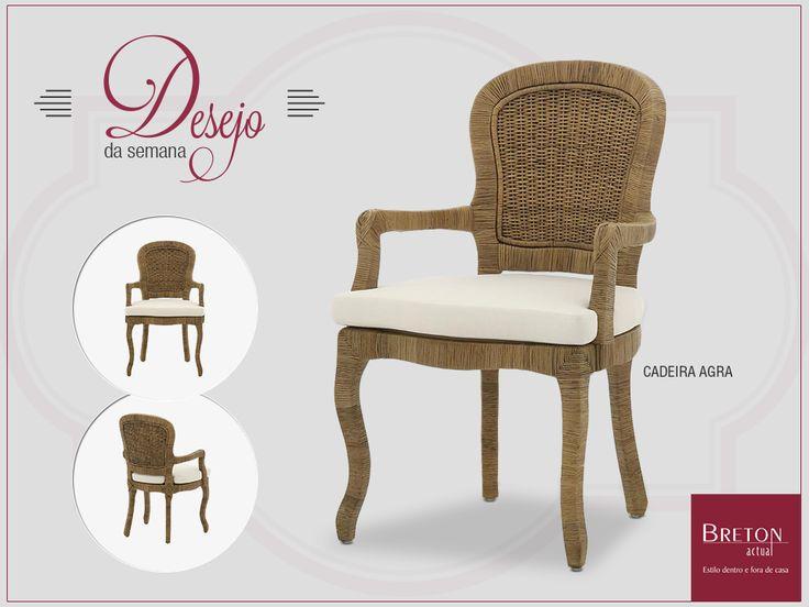 A beleza da cadeira Agra se deve ao toque retrô de fibra natural, que encanta tanto em uma área externa coberta quanto em um ambiente interno. Adquira o produto nas lojas físicas ou na virtual: http://bit.ly/Y2GWnX #BretonActual #Breton #DesejodaSemana #Décor
