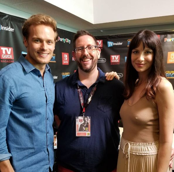 """drunklander: """"""""damianholbrook: Two of my favorite beautiful people at the #SDCCTVI photo suite. #outlander #sdcc #icannaeven """" """""""