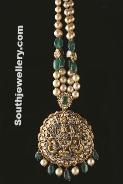Antique Pearls and Emeralds Necklace ~ Latest Jewellery Designs