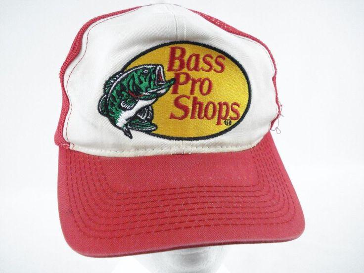 Bass pro shops red white gone fishing trucker hat mesh for Bass fishing hats
