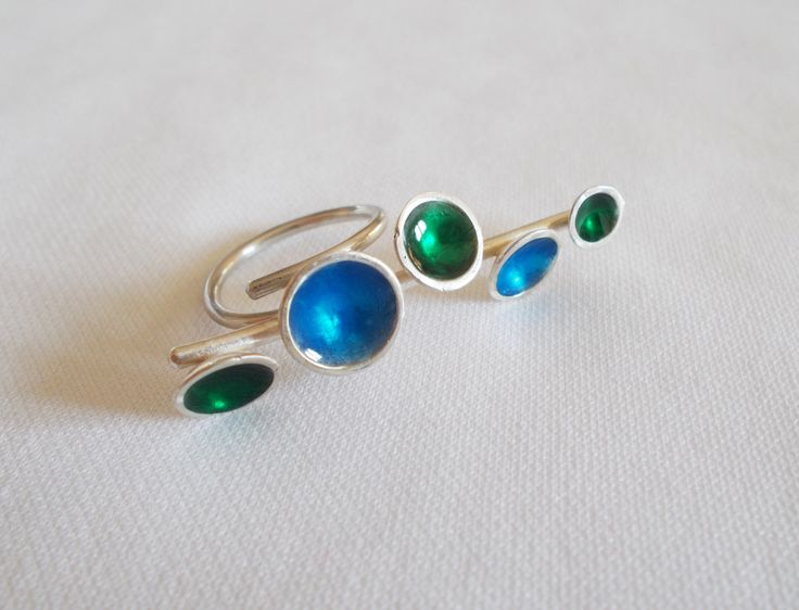 Silver double ring with blue and green enamel by DRscreationsshop on Etsy