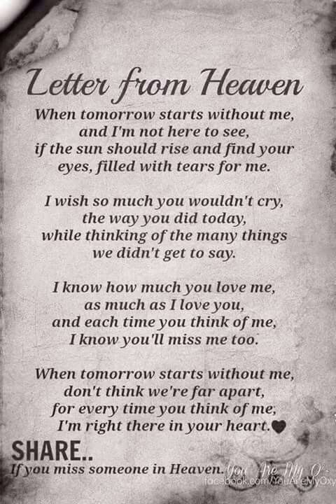 To all my loved ones please read this on my funeral...