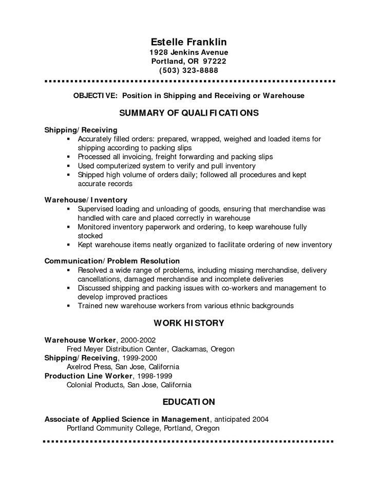 14 best Sample of professional resumes images on Pinterest - warehouse cover letter for resume