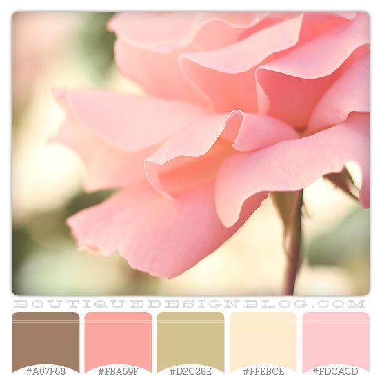Para la habitación de Paula - brown green and coral color scheme | Perfectly Pink color scheme with soft pink, brown and green - Boutique ...