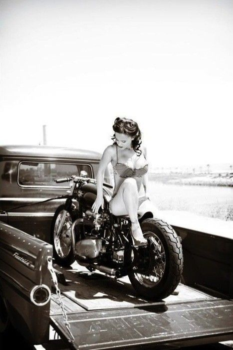 ..victory curls, on a vintage bike, in a vintage truck!