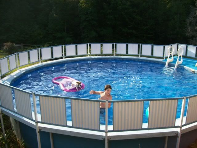1000 images about above ground pool fence on pinterest for Above ground pool siding ideas