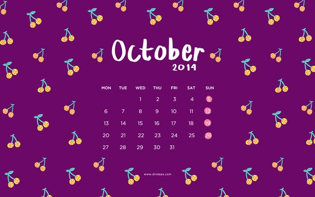 October 2014 Wallpaper Calendar - Fruit Pattern