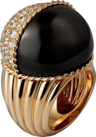 Paris Nouvelle Vague ring růžové zlato, černý nefrit, diamanty