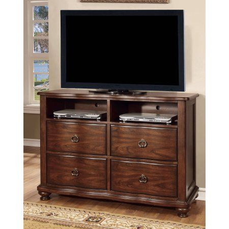 Furniture of America Laine Traditional Media Chest, Brown Cherry