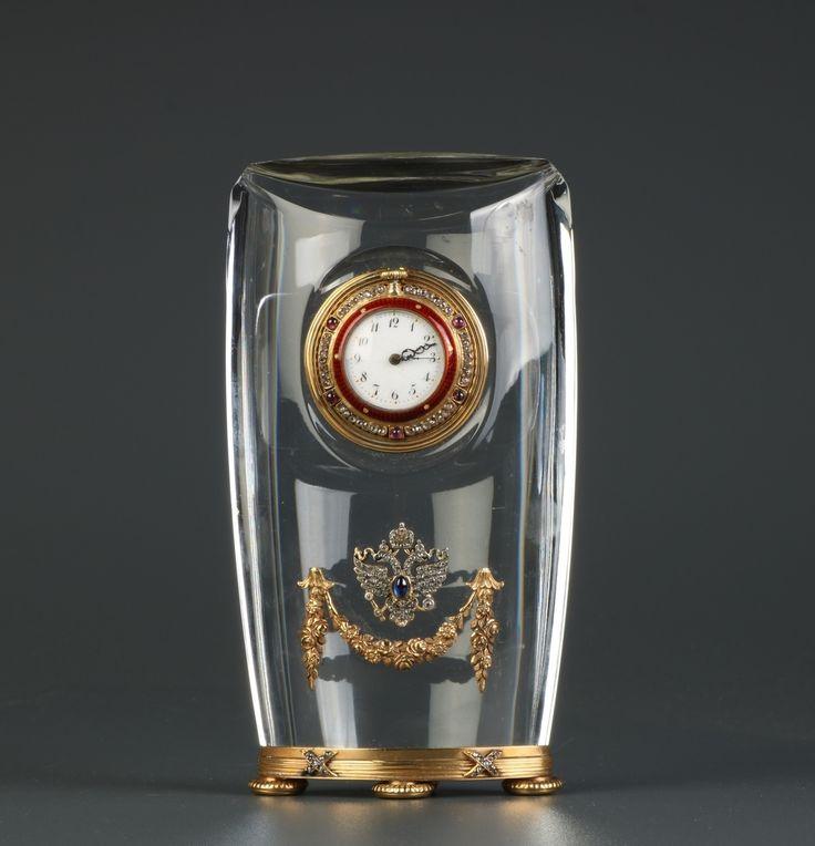 Lot 391 S105 - A Crystal-Cut Table Clock w/ Diamond - Est. $1200-1800 - Antique Reader