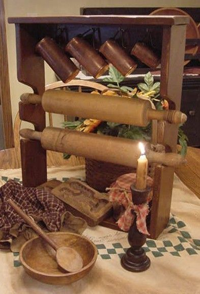 Primitive Two-Pin Rolling Pin Rack...