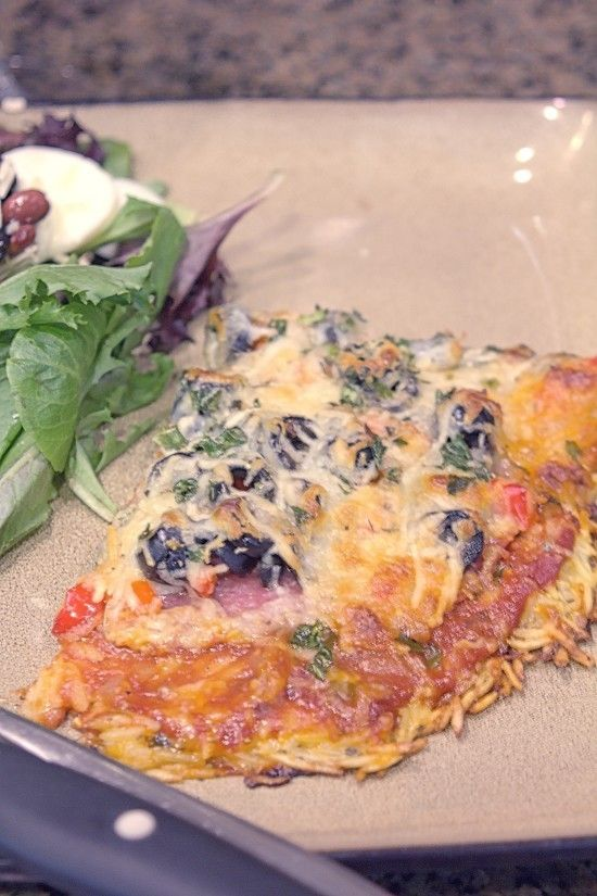 Salami Pizza with Orzo Crust. Celebrate National Pizza Day today with this yummy pie with a unique crust.