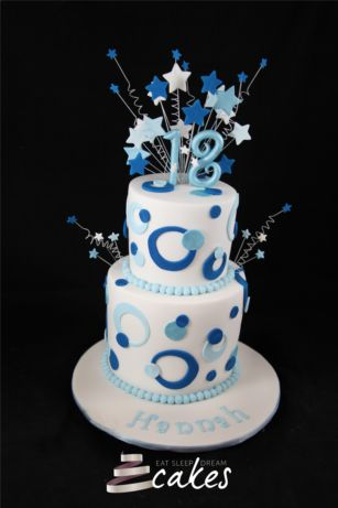 birthday cakes 18 girl | 18th Birthday Cake Blue Circles 2 Tier Eat Sleep Dream Cakes.