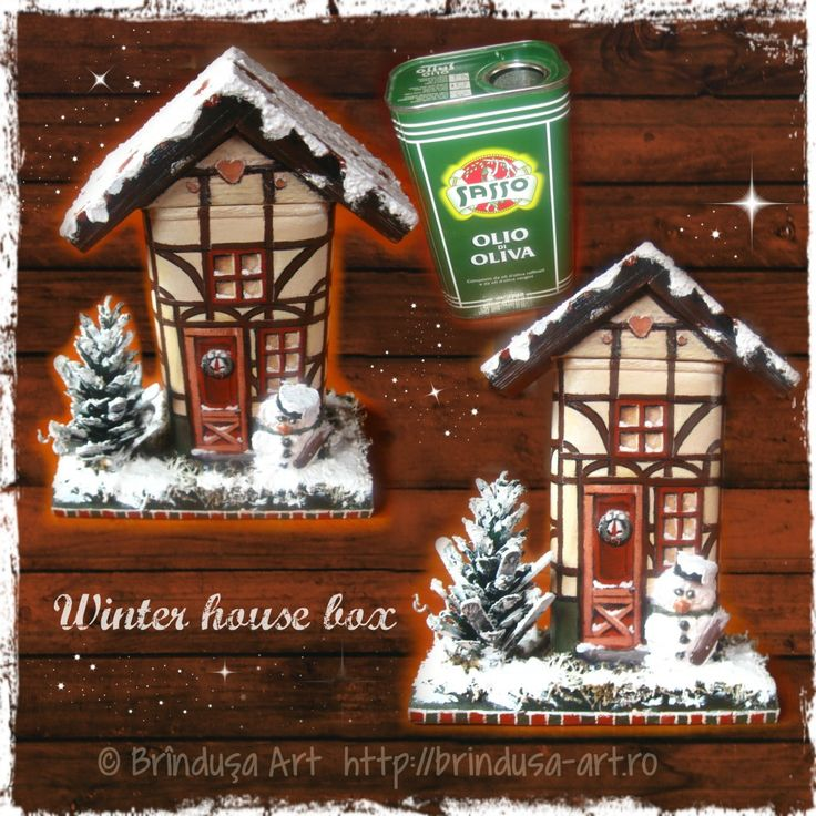 Repurposed/ recycled olive oil can - painted & made into a winter house box. Homemade Christmas village house. Detachable roof; the box can be used as a piggy bank. Fir tree, snow, wooden beams house. Conservă veche de ulei de măsline, pictată & reciclată. Căsuţă de iarnă, poate fi folosită pe post de cutie. Acoperiş detaşabil; cutia poate avea rolul de puşculiţă. Brad, zăpadă, căsuţă cu bârne de lemn... #recycling #repurposing #cans #painting #conserva #reciclare #handmade #acrylics…