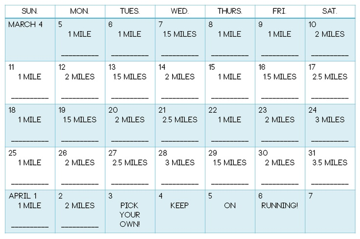"""""""30 day running challenge"""". Not much of a challenge but a nice habit builder. The everyday part will be the challenge."""