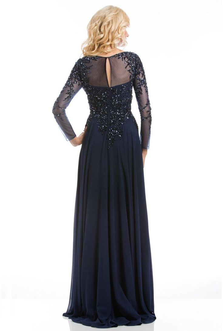 Feriani Couture – Long Sleeve Beaded Illusion A-Line Evening Gown 26145