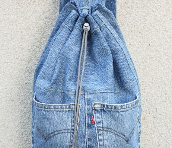 dril de algodón reciclado jeans lazo grande por UpcycledDenimShop