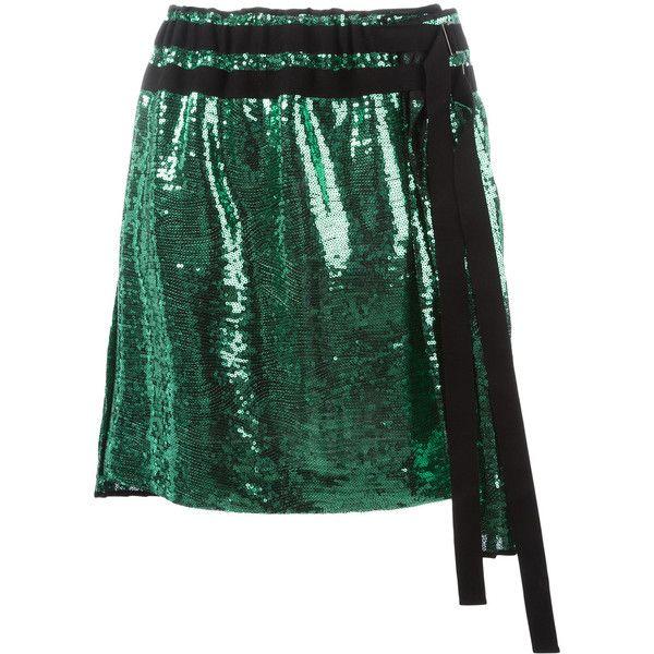 Nº21 pleated sequin skirt (£645) ❤ liked on Polyvore featuring skirts, green, pleated skirt, green sequin skirt, sequin skirt, green pleated skirt and knee length pleated skirt