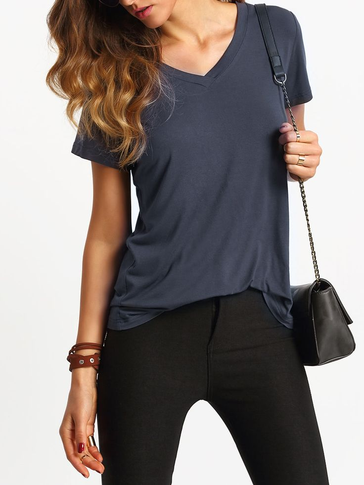 Comfortable V-Cut Short Sleeve Casual T-shirt from SheIn {this is an affiliate link - AD}