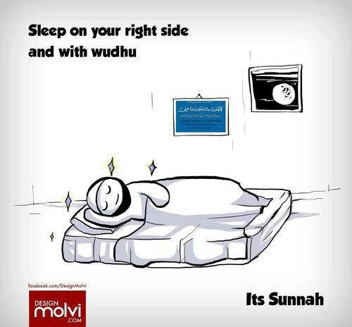 Sleep on your right side and with wudhu.