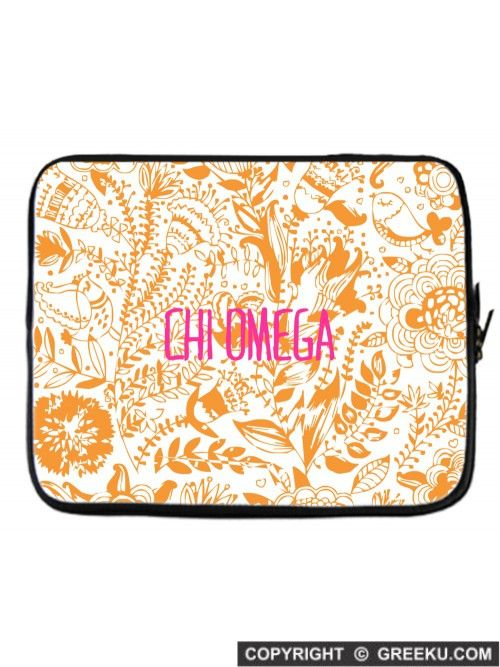 Sorority Floral Pattern Orange Laptop Cover | Free Shipping. Order for your sorority (shown in Chi Omega)! ** Also comes in Lavender, Green, Pink and Blue. Shop now! http://www.greeku.com/sorority/merchandise/electronic-accessories/laptop-cases/floral-pattern-orange-laptop-cover/