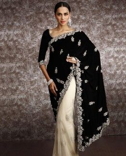 Net Saree with stone bootas and Velvet Pallu