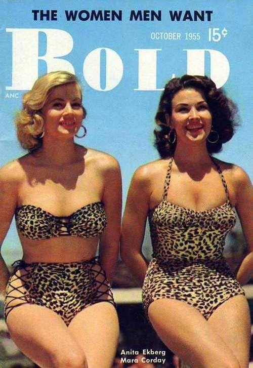 Anita Ekberg and Mara Corday on the cover of Bold magazine, October 1955.