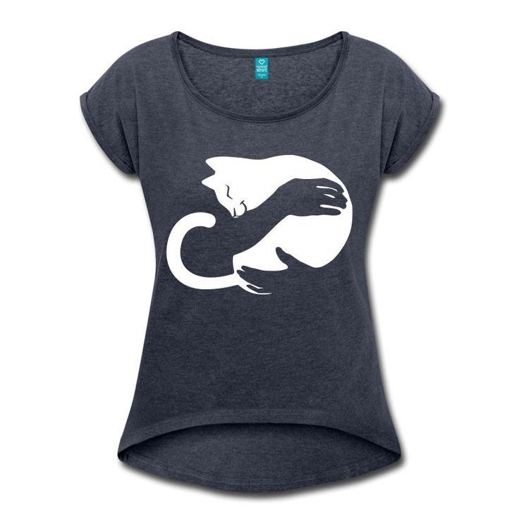 CatHug - Frauen T-Shirt mit gerollten Ärmeln T-Shirt | Katzen T-Shirts | Mit lustigen Katzen-Motiven bedruckte Shirts und Geschenke für Katzenfreunde
