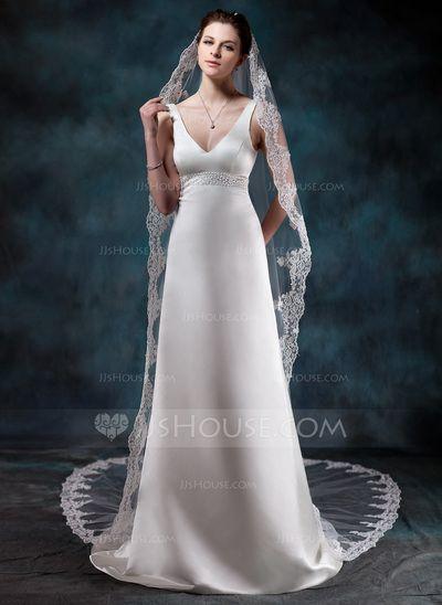 [€ 45.33] Een-rij Kathedraal Bruids Sluiers met Lace Stoffen Rand