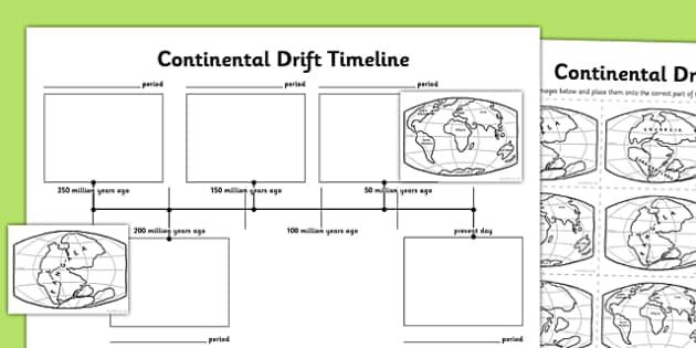 Continental Drift Timeline Activity Sheet Continental