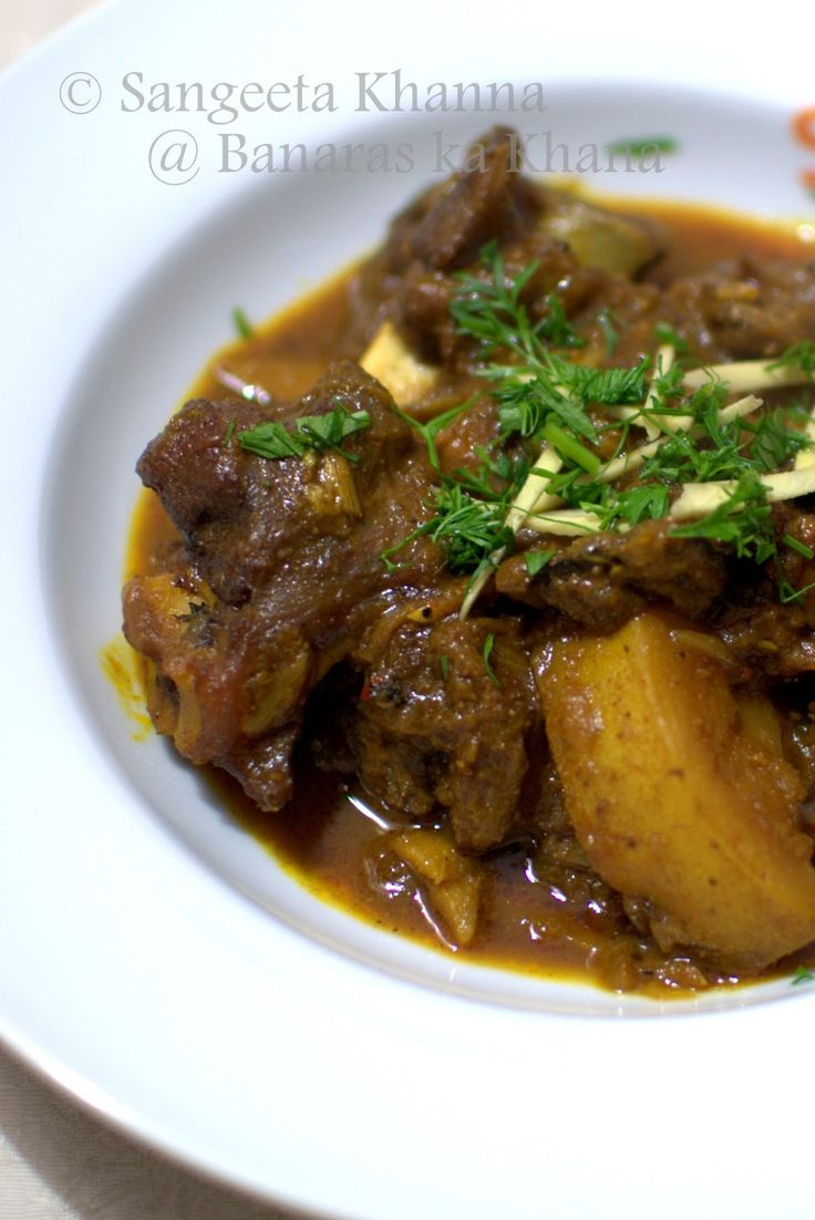 Goat liver with dill leaves indian kitchen cooking recipes - Banaras Ka Khana Mutton Curry Up Home Style