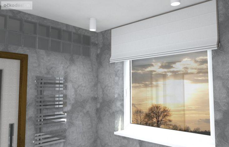 Okno v koupelně lze zakrýt textilní římskou roletou