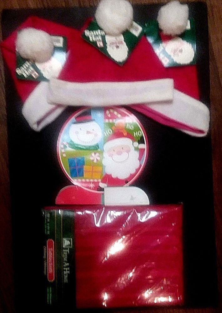 "VINTAGE XMAS BUNDLE  3 SANTA HATS  1 TABLE DECOR AND 1 RED TABLECLOTH 60"" x 84""  #TRIMAHOME"