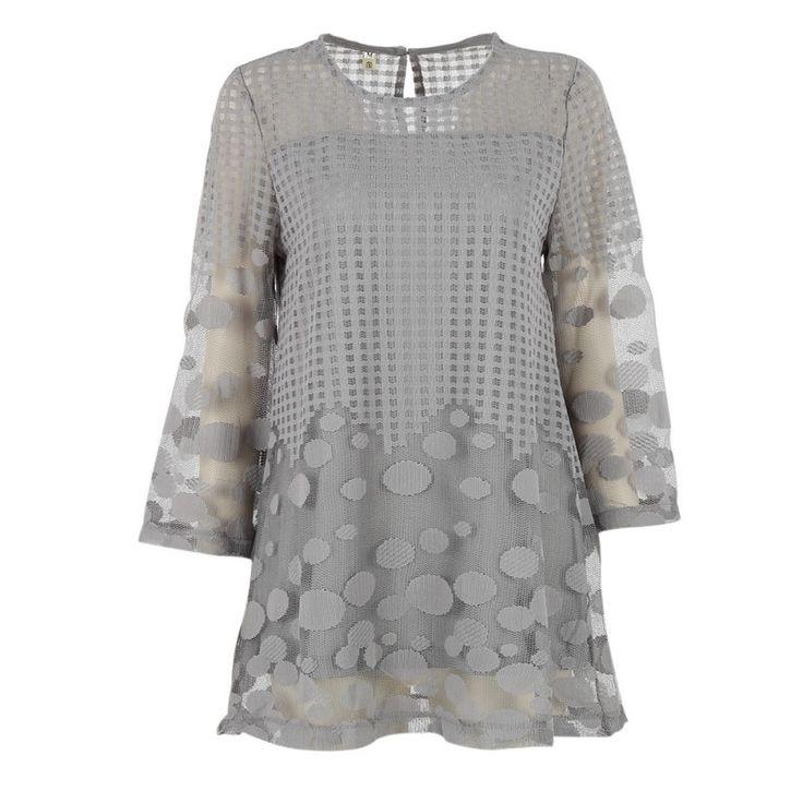 Women Tops Women Chiffon Long Style Top Polka Dot Three Quarter Top Casual Shirt Women Plus Size Blusas BE66