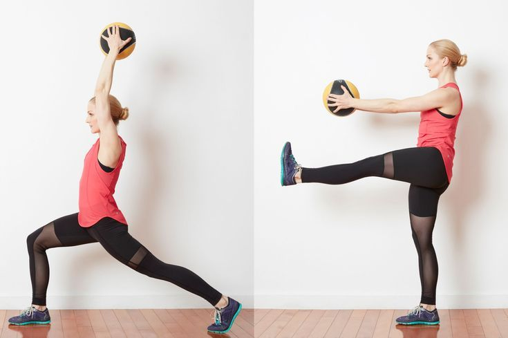 Try This Low Impact Cardio Challenge with a Med Ball and Kettlebell: Rear Lunge with Med Ball Touch