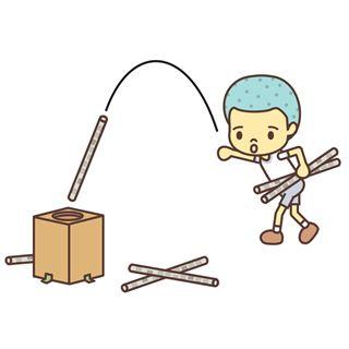 新聞紙の棒を、弧を描くように投げて、箱に入れるゲームです。新聞紙ダーツゲーム、新聞紙やり投げ。English page : Throwing Sticks Game事前準備と道具の作り方新聞紙を棒状に丸めてセロハンテープで止めます。縦長のダ