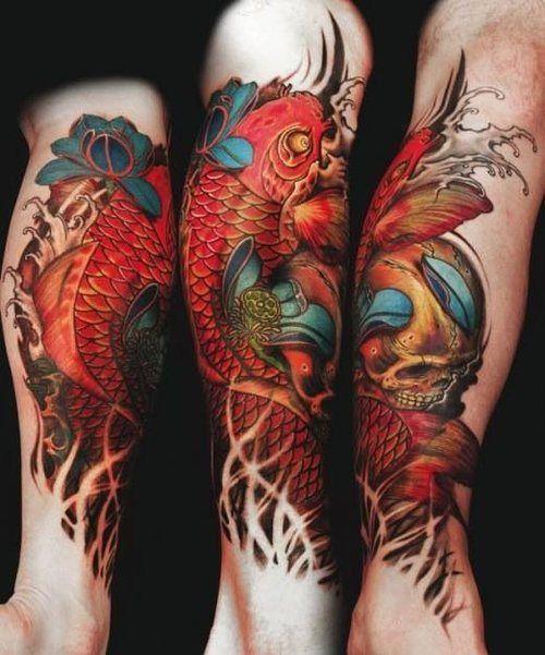Vibrantly colored koi alongside a skull. #InkedMagazine #tattoo #tattoos #Inked #Ink #art #koi #fish #Japanese #skull