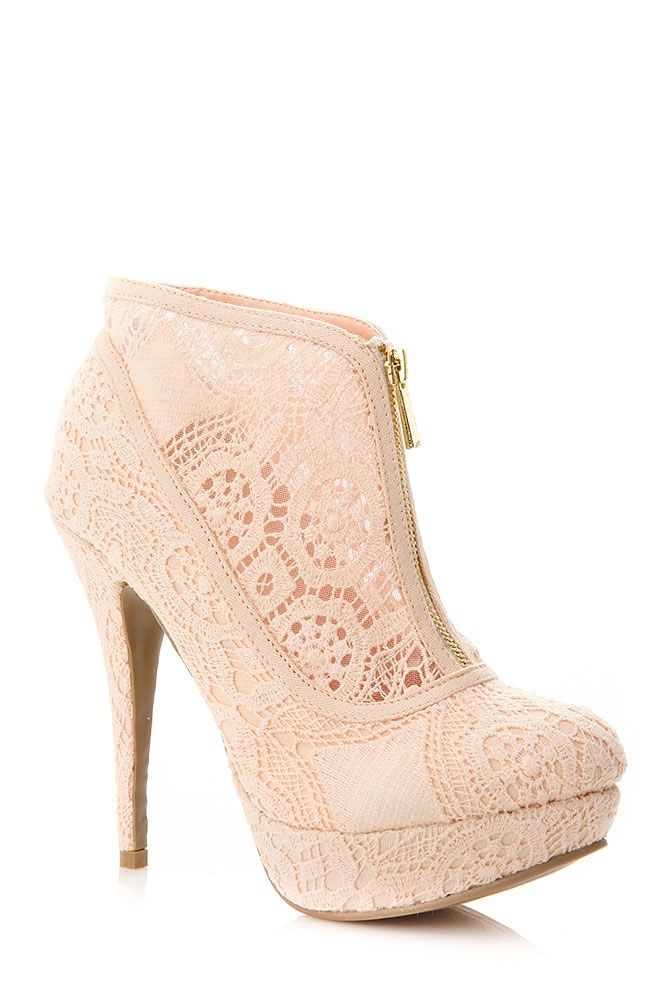 Lilliana Lace Zip Up Booties They Come in Pink too!! Do you like the blue or the pink?