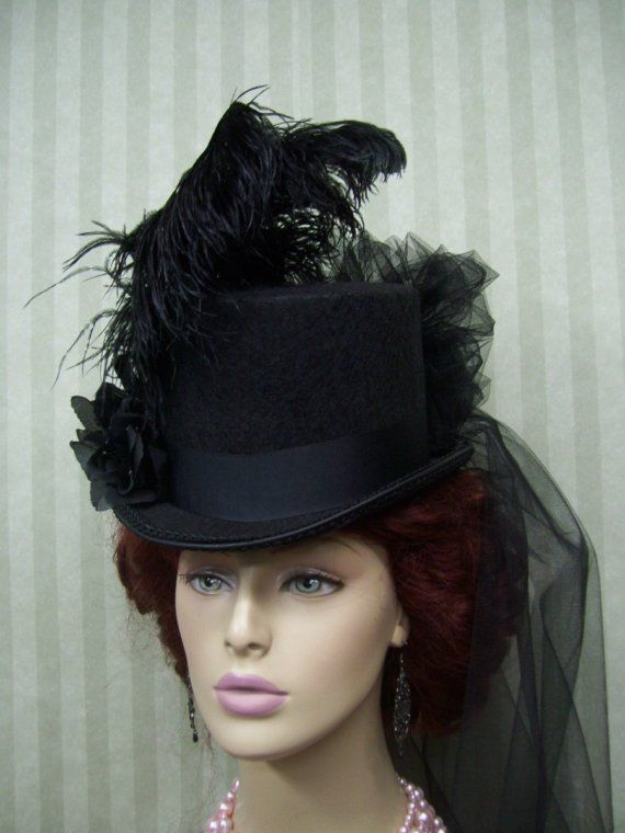 Black Top Hat Steampunk Top Hat Victorian Top Hat by MsPurdy