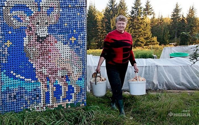Russian siberian house made of plastic bottles and caps